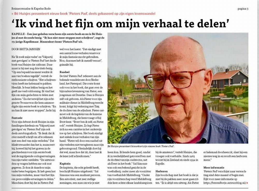 Pieters Pad. Artikel in huis-aan-huisblad