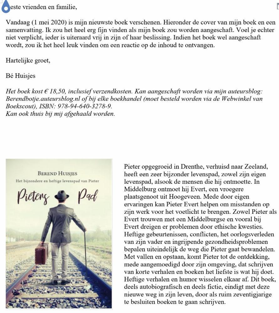 Pieters Pad is op 1 mei 2020 verschenen